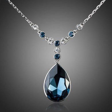 Blue Water Crystal Necklace - KHAISTA Fashion Jewellery