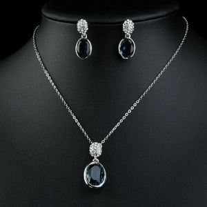 Blue Water Earrings & Necklace Set - KHAISTA Fashion Jewellery
