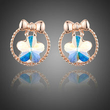 Load image into Gallery viewer, Bowknot Crystal Flower Stud Earrings - KHAISTA Fashion Jewellery