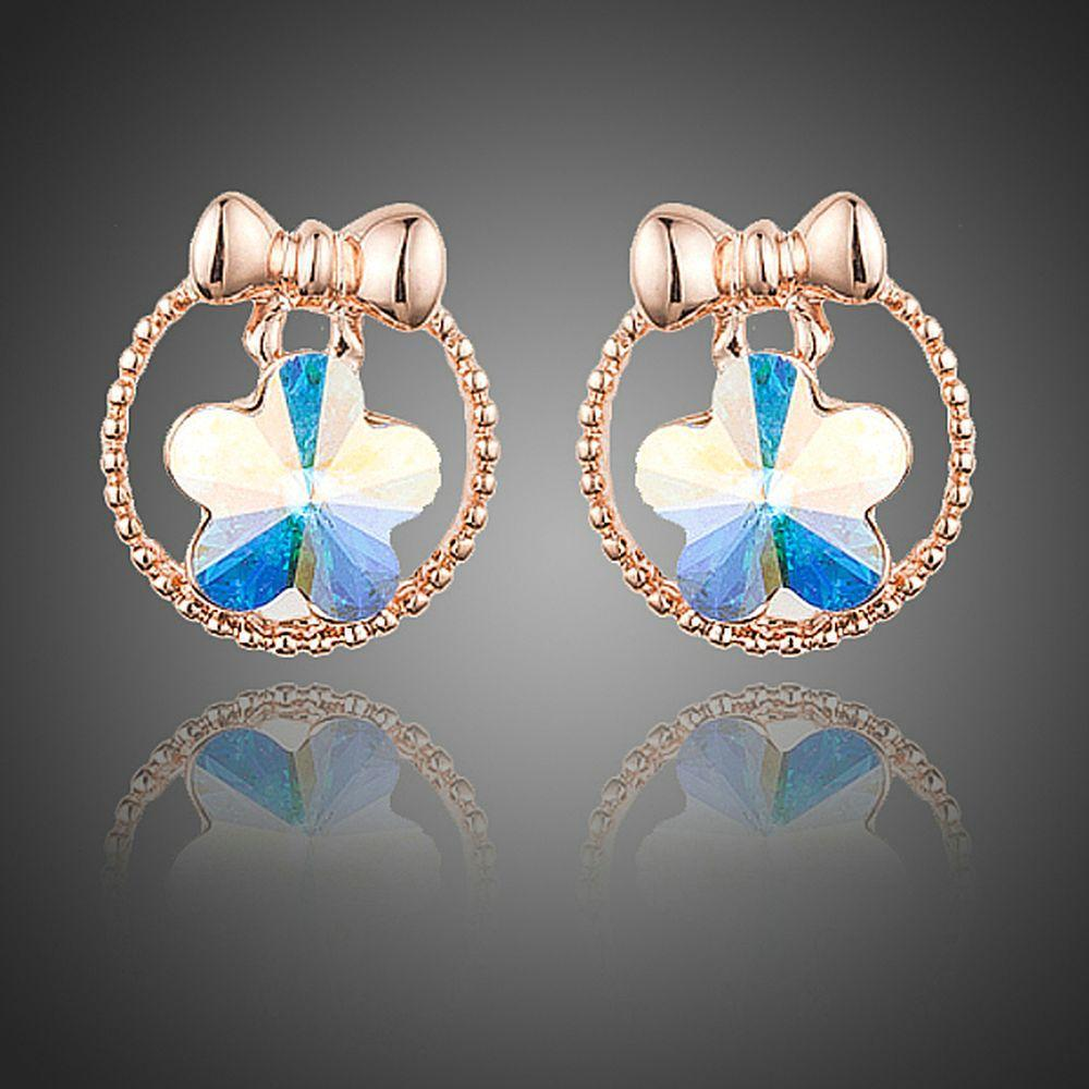 Bowknot Crystal Flower Stud Earrings - KHAISTA Fashion Jewellery