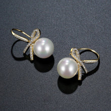 Load image into Gallery viewer, Bowknot Pearl Dangle Drop Earrings -KPE0400 - KHAISTA Fashion Jewellery