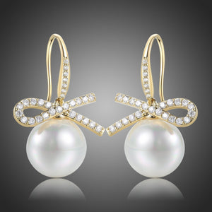 Bowknot Pearl Dangle Drop Earrings -KPE0400 - KHAISTA Fashion Jewellery
