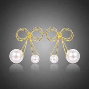 Bowknot Pearl Drop Earrings -KPE0356 - KHAISTA Fashion Jewellery