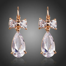 Load image into Gallery viewer, Bowknot Tie Cubic Zirconia Drop Earrings - KHAISTA Fashion Jewellery
