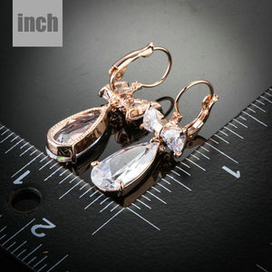Bowknot Tie Cubic Zirconia Drop Earrings - KHAISTA Fashion Jewellery
