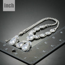 Load image into Gallery viewer, Bright White Cubic Zircon Necklace and Stud Earrings Set - KHAISTA Fashion Jewellery