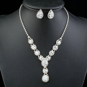 Bright White Cubic Zircon Necklace and Stud Earrings Set - KHAISTA Fashion Jewellery