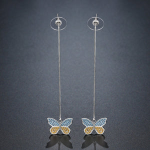 Butterfly Drop Earrings -KPE0376 - KHAISTA Fashion Jewellery