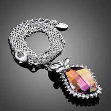 Load image into Gallery viewer, Butterfly on Autumn Leaf Crystal Pendant Necklace - KHAISTA Fashion Jewellery