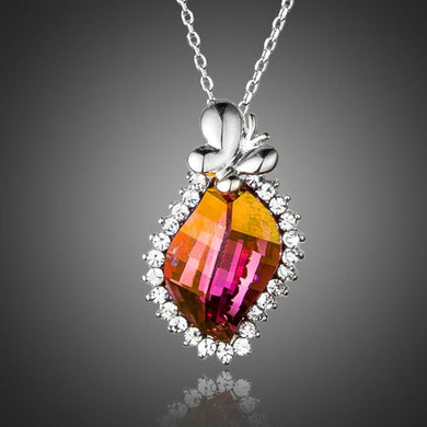 Butterfly on Autumn Leaf Crystal Pendant Necklace - KHAISTA Fashion Jewellery