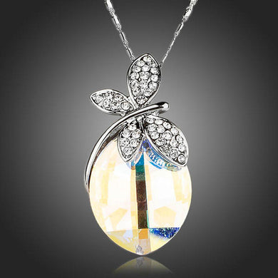Butterfly on Crystal Pendant Necklace KPN0129 - KHAISTA Fashion Jewellery