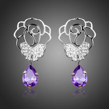 Load image into Gallery viewer, Butterfly On Flower Drop Earrings - KHAISTA Fashion Jewellery
