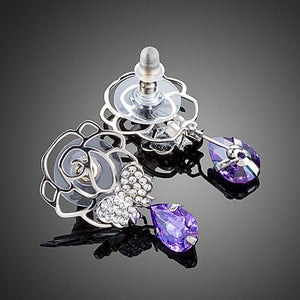 Butterfly On Flower Drop Earrings - KHAISTA Fashion Jewellery