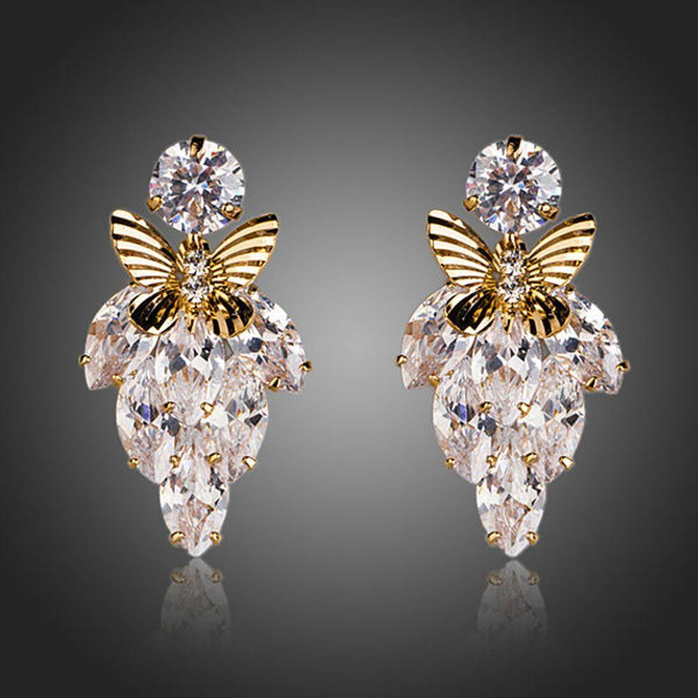 Butterfly On Leaf Drop Earrings - KHAISTA Fashion Jewellery