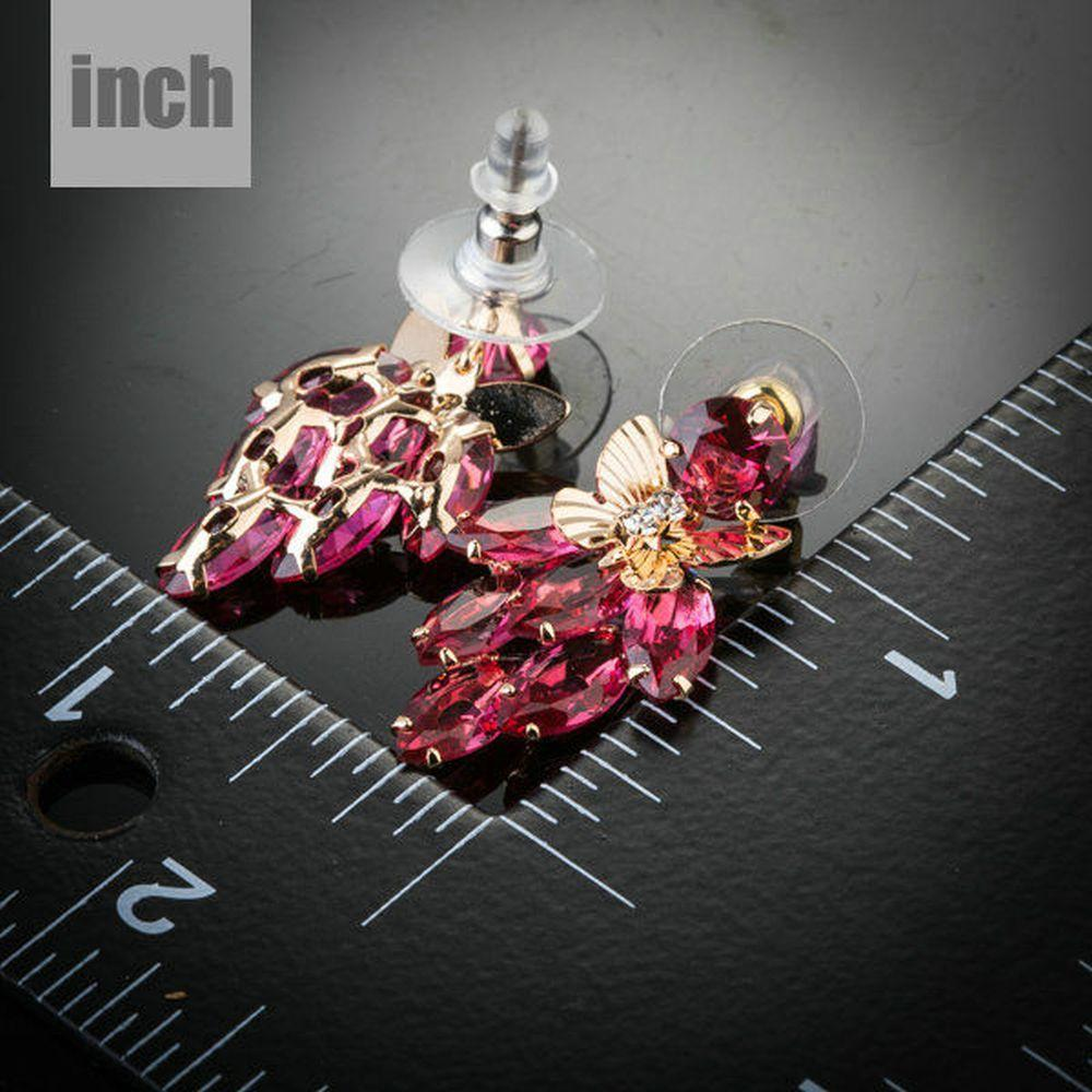 Butterfly on Raspberry Drop Earrings - KHAISTA Fashion Jewellery
