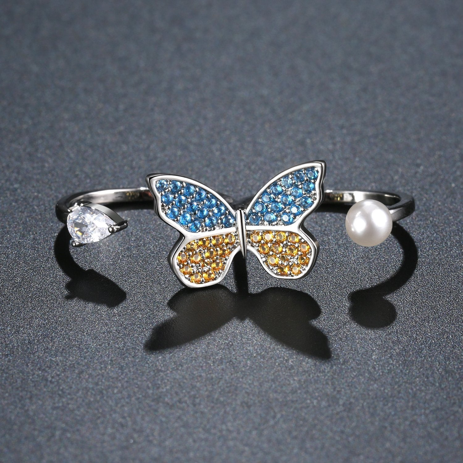 Butterfly Pearl Bridal Sets Adjustable Open Ring - KHAISTA Fashion Jewellery
