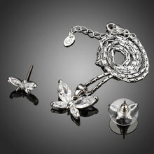 Load image into Gallery viewer, Butterfly White Gold Color Clear Marquise Cut CZ Necklace and Earrings Set - KHAISTA Fashion Jewellery