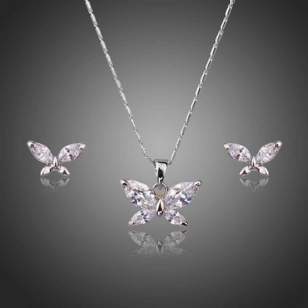 Butterfly White Gold Color Clear Marquise Cut CZ Necklace and Earrings Set - KHAISTA Fashion Jewellery