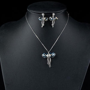 Butterfly White Gold Color Stellux Austrian Crystal Necklace and Earrings Set - KHAISTA Fashion Jewellery