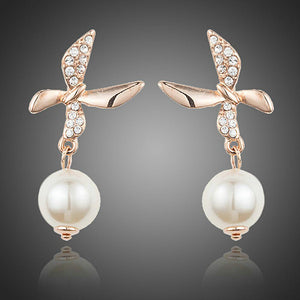 Butterfly With Pearl Drop Earrings - KHAISTA Fashion Jewellery