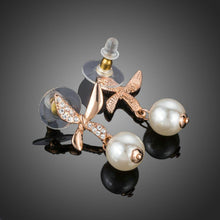 Load image into Gallery viewer, Butterfly With Pearl Drop Earrings - KHAISTA Fashion Jewellery