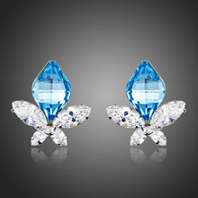 Load image into Gallery viewer, Butterfly With Sea Blue Crystal Stud Earrings - KHAISTA Fashion Jewellery