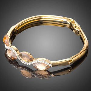 Caramel Bangle - Crystal Wave - KHAISTA Fashion Jewellery