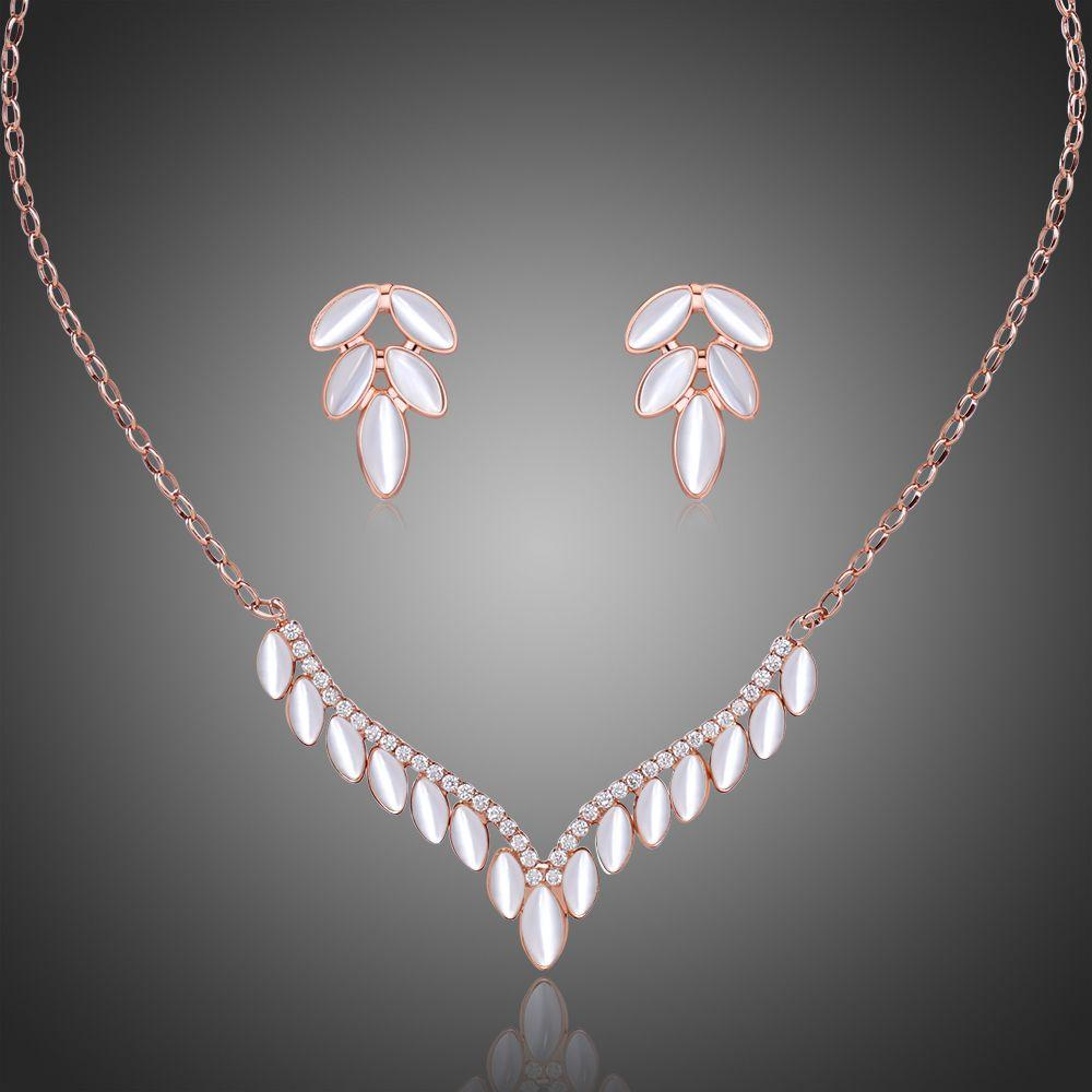 Cat's Eye Stone Antler Cubic Zirconia Bridal Wedding Jewelry Set - KHAISTA Fashion Jewellery