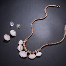 Load image into Gallery viewer, Cat's Eye Stone Rose Gold Color Oval Rhinestone Jewelry Necklace Set - KHAISTA Fashion Jewellery