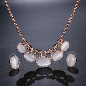 Cat's Eye Stone Rose Gold Color Oval Rhinestone Jewelry Necklace Set - KHAISTA Fashion Jewellery