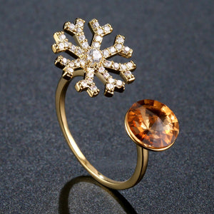 Champagne Austrian Crystal and Cubic Zirconia Snowflake Adjustable Ring - KHAISTA Fashion Jewellery