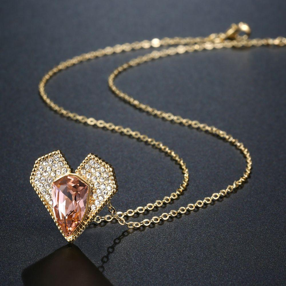 Champagne Austrian Crystals Heart Shaped Pendant Necklace Rhinestone Vintage Fashion Jewelry - KHAISTA Fashion Jewellery