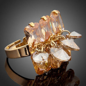 Champagne Crystal Adjustable Ring -KFR0049 - KHAISTA