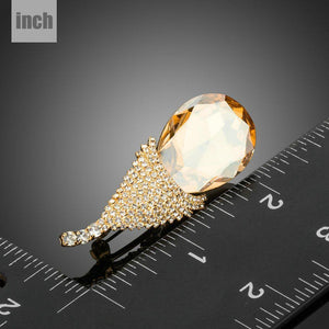 Champagne Crystal Design Pin Brooch - KHAISTA Fashion Jewellery
