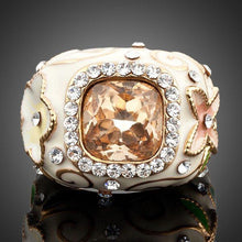 Load image into Gallery viewer, Champagne Crystal Flower Ring -KFR0004 - KHAISTA