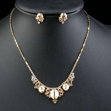 Load image into Gallery viewer, Champagne Crystal Flower Stud Earrings & Pendant Necklace Set - KHAISTA Fashion Jewellery