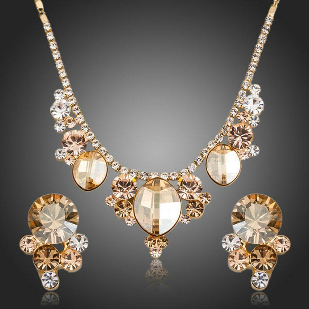 Champagne Crystal Flower Stud Earrings & Pendant Necklace Set - KHAISTA Fashion Jewellery