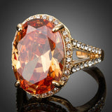 Champagne Cubic Zirconia Crystal Adjustable Ring - KHAISTA Fashion Jewellery