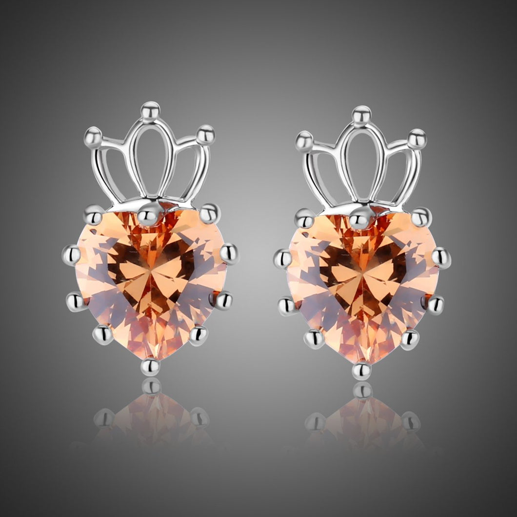 Champagne Cubic Zirconia Earrings -KPE0314 - KHAISTA Fashion Jewellery