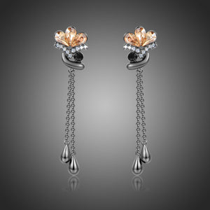 Champagne Flower Drop Earrings -KPE0368 - KHAISTA Fashion Jewellery