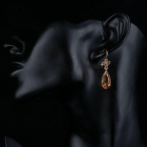 Champagne Flower Hang Cubic Zirconia Earrings -KPE0156 - KHAISTA Fashion Jewellery