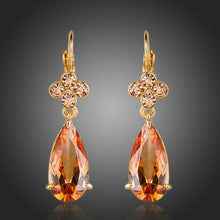 Load image into Gallery viewer, Champagne Flower Hang Cubic Zirconia Earrings -KPE0156 - KHAISTA Fashion Jewellery