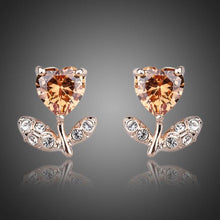 Load image into Gallery viewer, Champagne Flower Heart Stud Earrings -KPE0065 - KHAISTA Fashion Jewellery