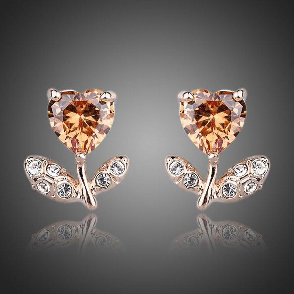 Champagne Flower Heart Stud Earrings -KPE0065 - KHAISTA Fashion Jewellery