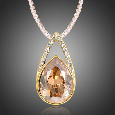 Champagne Pear Shape Necklace KPN0267 - KHAISTA Fashion Jewellery