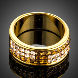 Charm Square Gold Crystal Ring - KHAISTA Fashion Jewellery