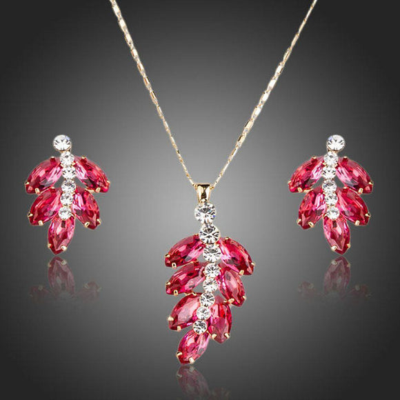 Cherry Cubic Zirconia Drop Earrings & Necklace Set - KHAISTA Fashion Jewellery