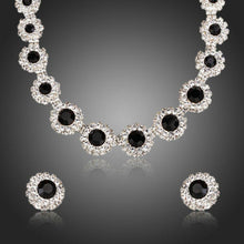 Load image into Gallery viewer, Classic Black Match Clear Cubic Zirconia Necklace and Stud Earrings Set - KHAISTA Fashion Jewellery