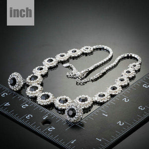 Classic Black Match Clear Cubic Zirconia Necklace and Stud Earrings Set - KHAISTA Fashion Jewellery