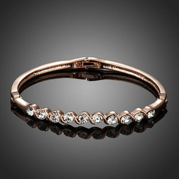 Classic Rose Gold Plated Crystal Bangle - KHAISTA Fashion Jewellery